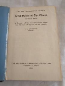 Great Songs of the Church Number Two Title Page